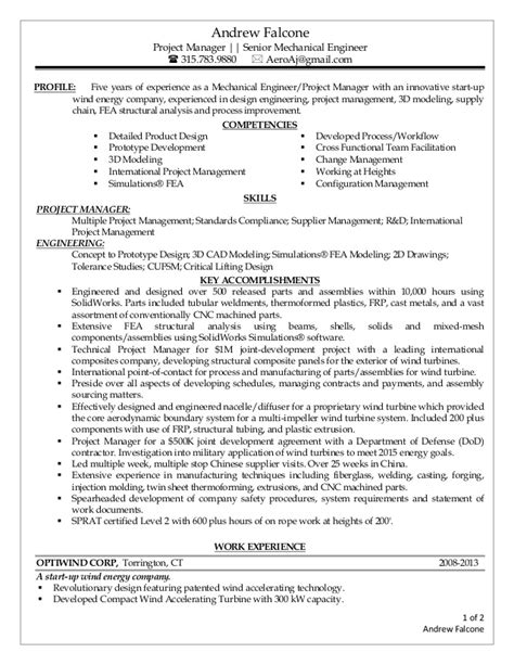 Professional Mechanical Engineer Resume Pdf by Falcone Andrew Resume Pdf