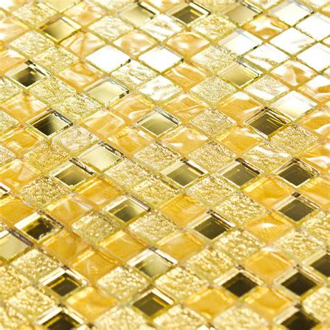 cuisine credence carrelage mosaïque pâte de verre luxe or dorée miroir indoor by
