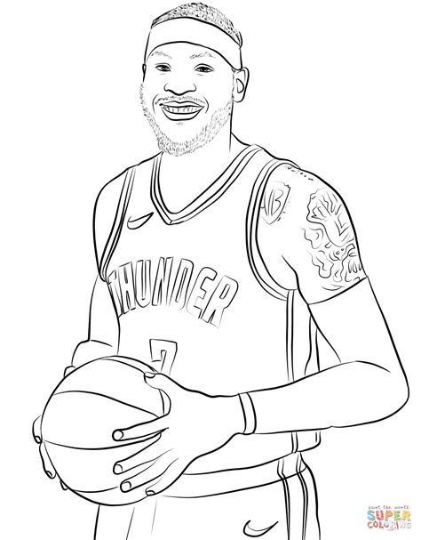 Kleurplaat Abdul Jabbar by Carmelo Anthony Coloring Page Free Printable Coloring Pages