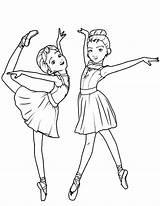 Ballerina Coloring Ballet Dance sketch template