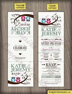 custom owl wedding invitations canada empire invites With tri fold wedding invitations canada