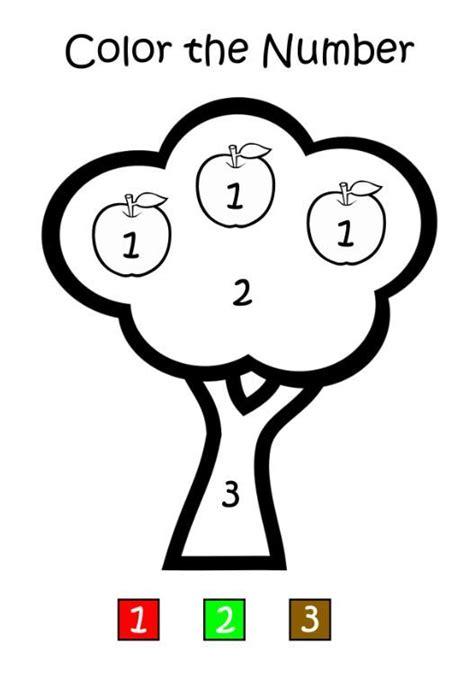Apple Tree Color by Number Educación de niños Colores