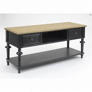 Meuble Bois Et Noir : meuble tv new legende 120 cm en bois noir et naturel ~ Dailycaller-alerts.com Idées de Décoration