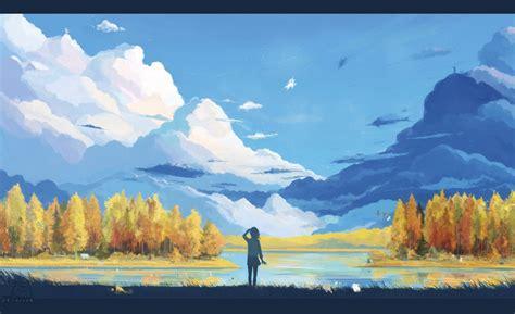anime landscape nature fantasy art minimalism