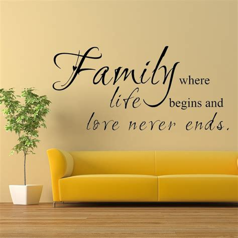 family  life begins love  ends family wall decal