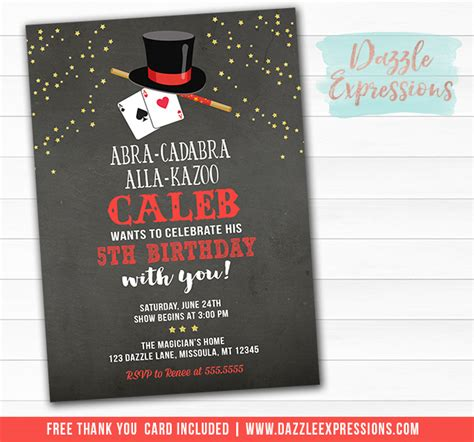 printable magic show chalkboard birthday invitation