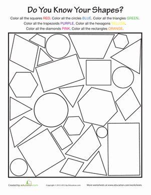 basic shapes worksheet education