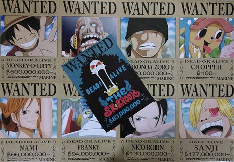 9 Pcs One Piece Wanted Poster Set 58x29cm Anime Luffy Nami