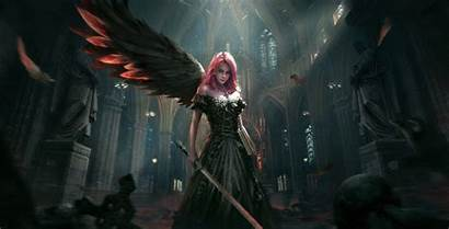 Angel Dark Warrior Fallen Woman Sword Wings