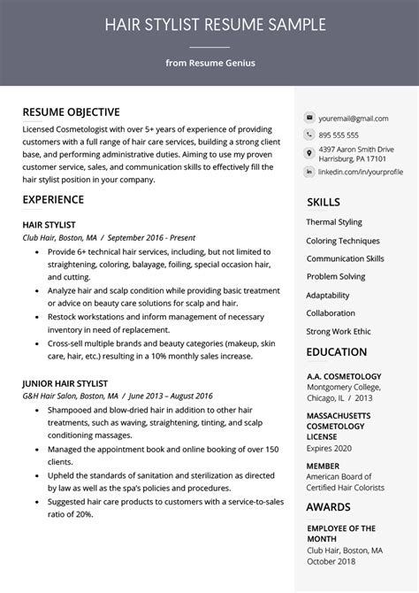 Hair Stylist Resume Template by Hair Stylist Resume Sle Writing Guide Rg