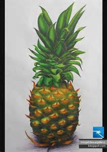 Color Pencil Drawing Pineapple