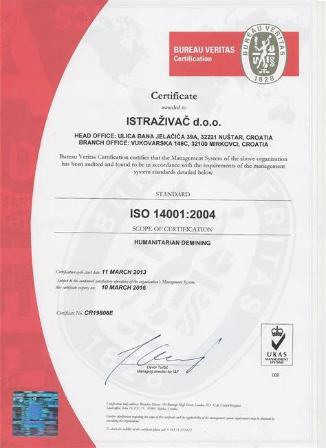 bureau veritas hr istrazivac ltd croatia demining certificates