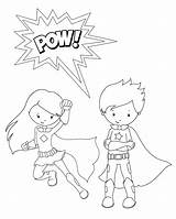 Superhero Coloring Pages Pow Crazy sketch template