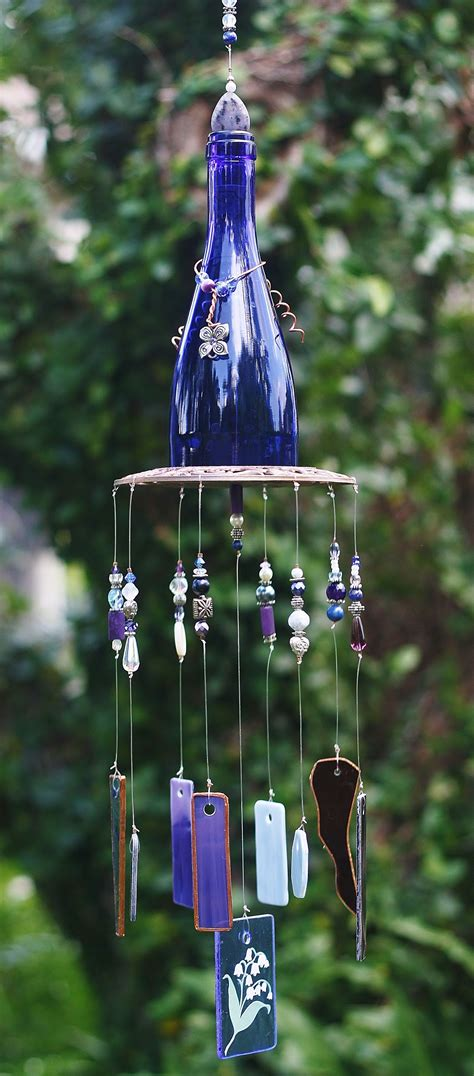 unique wind chimes beautiful ooak wine bottle wind chime once upon a chime 3062