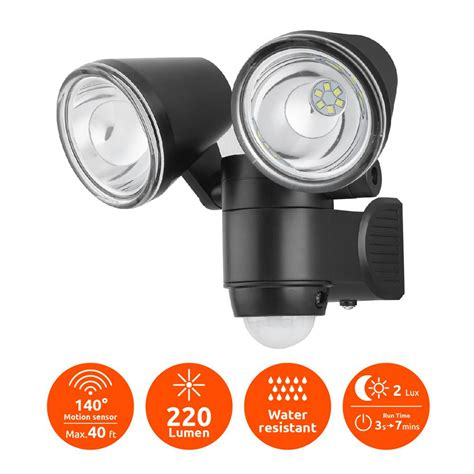 Battery Powered Light by Link2home Bright Black 220 Lumen Motion Activated