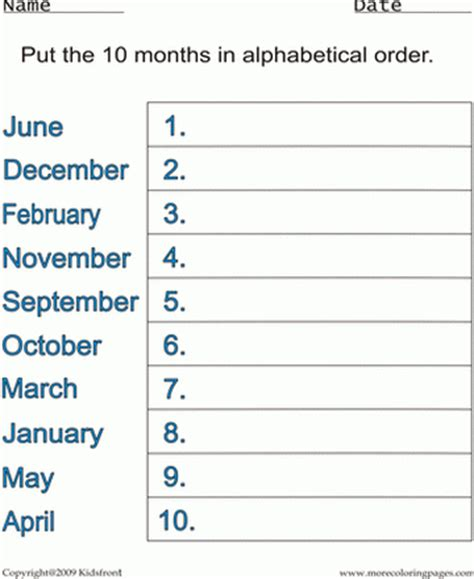 free printable months of the year worksheets for