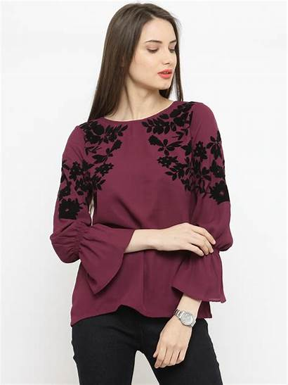 Line Printed Myntra Burgundy Tops Pluss Wear