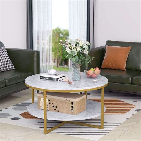 The table top can be easily raised up which allows it to be used as table for dining in the living room. Round Coffee Table Modern Marble Style with Gold Metal ...