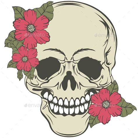Skull With Flowers Sateda Graphicriver