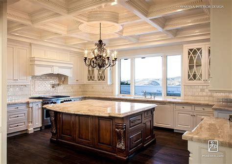 white carved italian traditional kitchen coffered ceiling