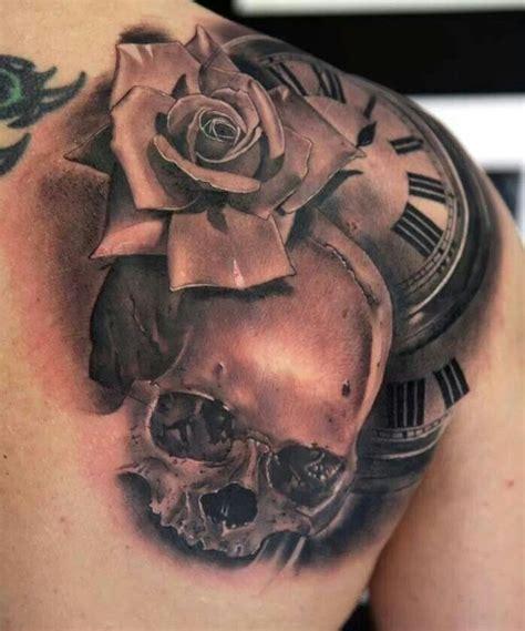 rose skull clock tattoo tattoo pinterest steam punk men  women  clock tattoos