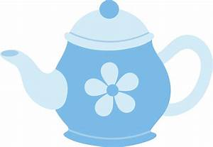Blue Teapot With Flower - Free Clip Art