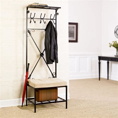 entryway storage bench with coat rack sei black metal entryway storage bench with