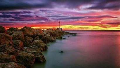 Sunset Spain Sea Valencia Mediterranean Wallpapers Backiee