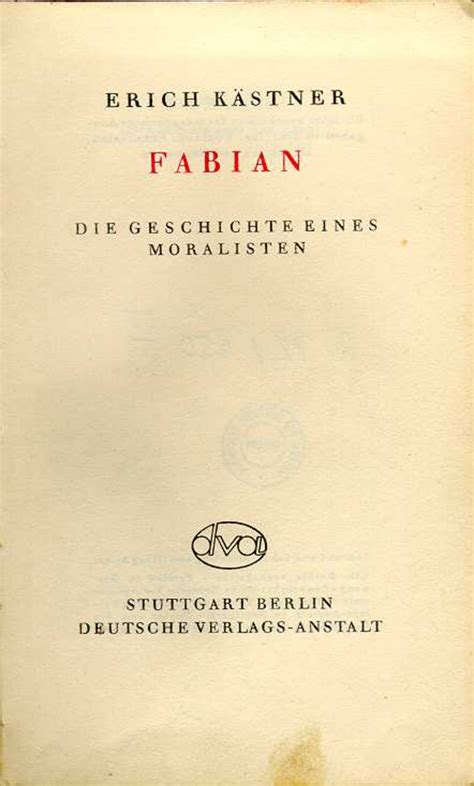 """Erich Kästner, """"fabian. Die"""