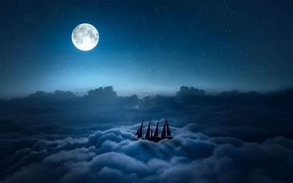 Clouds Moon Night Ship Stars Desktop Sea
