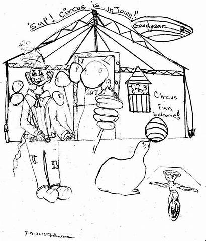 Circus Drawing Fun Harcum Thelma Drawings 18th