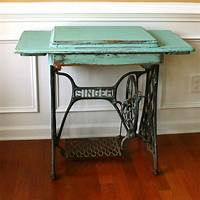antique sewing machine table Vintage Turquoise Entryway Table Desk. Singer Treadle Sewing