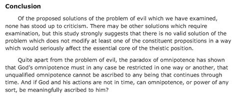 Problem Of Evil Essay by Quoting Paraphrasing And Summarizing C 2005 By