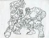 Hulkbuster Fight sketch template