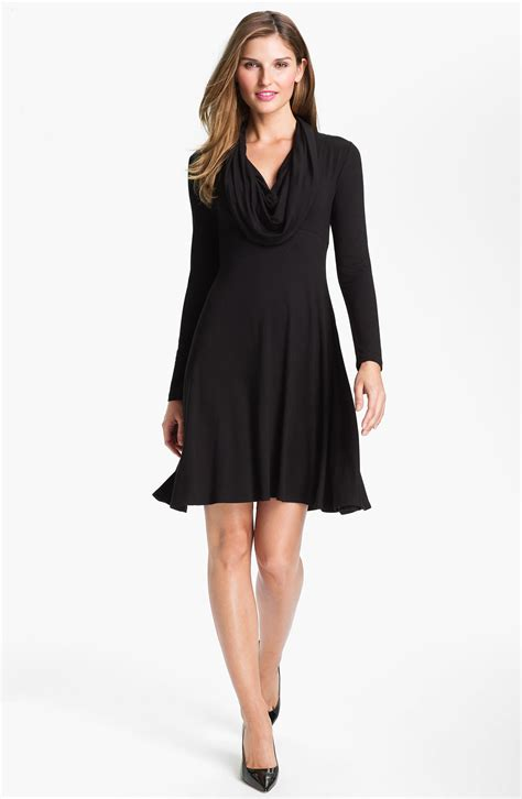 black drape dress drape neck dress in black lyst