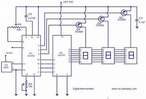 Digital Thermometer Circuit Based On Ca3162  Ca3162 And Lm35