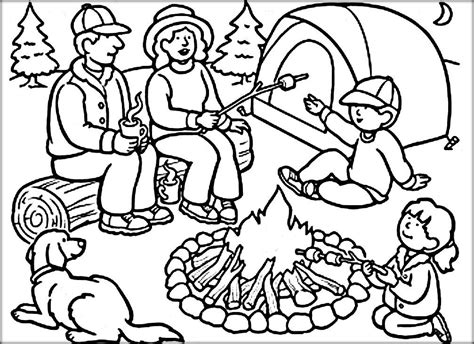 camping coloring pages  preschoolers camping coloring