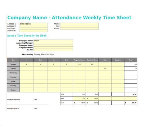 sample payroll time sheet calculator  documents