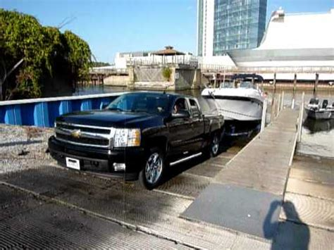 Boat Launch Pymatuning Lake by Chevy Silverado Towing Four Winns