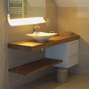 Plan De Travail Salle De Bain : plan de travail en bois pour salle de bain rnovation ~ Premium-room.com Idées de Décoration