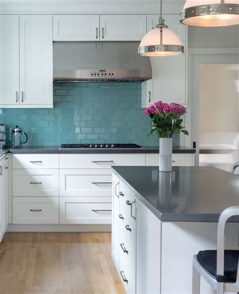 Kitchen Backsplash Turquoise by Kitchen With White Cabinets Gray Countertops Turquoise