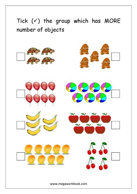 more and less worksheets for kindergarten worksheet mogenk paper works