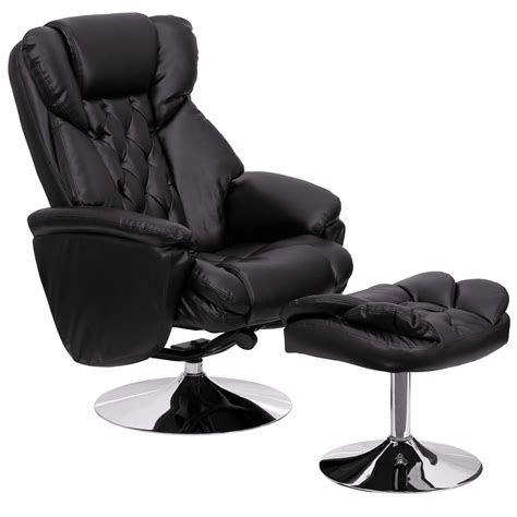 Designer Recliners by Puglia Black Leather Recliner Chair