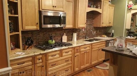Layered Stone Backsplash : 30 Faux Brick And Rock Panel Ideas (pictures