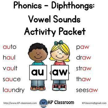 diphthong au aw vowel sounds activity packet and