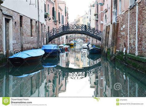 Iron Bridge And Green Water In Venice Editorial Image