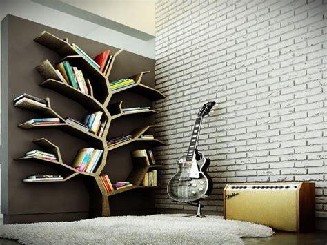 tree bookshelves modern tree bookshelf design for large bookshelf in the brown background combined brick wall