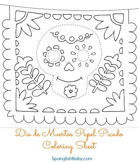 Free Dia de Muertos Papel Picado Coloring Sheet {Printable