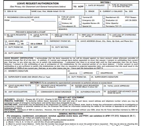 af form leave request af form 988 from laws com