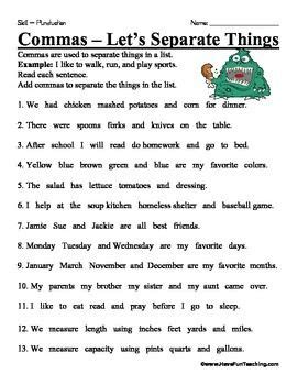 comma worksheet  images writing conventions